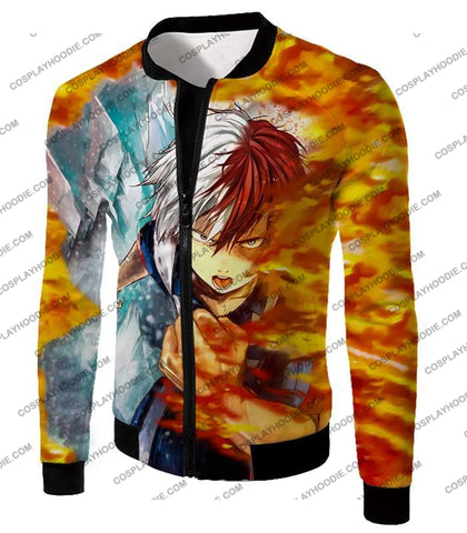 Image of My Hero Academia Favourite Anime Shoto Todoroki Awesome Half Cold Hot Promo T-Shirt Mha084 Jacket /