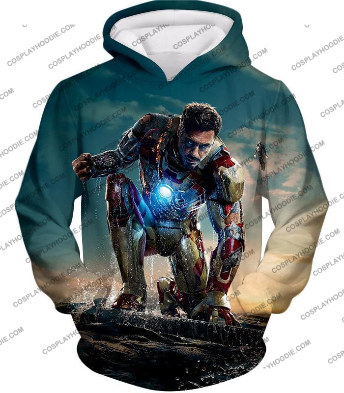 Best Avenger Iron Man Tony Stark Action Print T-Shirt Im035 Hoodie / Us Xxs (Asian Xs)