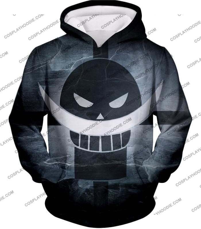 One Piece Awesome Blackbeard Pirates Flag Logo Cool Black And White T-Shirt Op035 Hoodie / Us Xxs