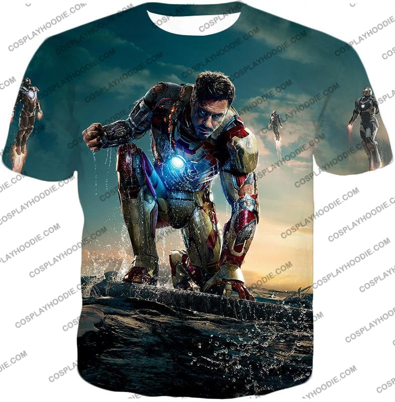 Best Avenger Iron Man Tony Stark Action Print T-Shirt Im035 / Us Xxs (Asian Xs)