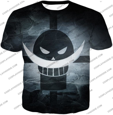 Image of One Piece Awesome Blackbeard Pirates Flag Logo Cool Black And White T-Shirt Op035 / Us Xxs (Asian
