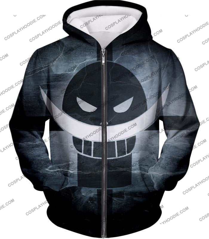 One Piece Awesome Blackbeard Pirates Flag Logo Cool Black And White T-Shirt Op035 Zip Up Hoodie / Us