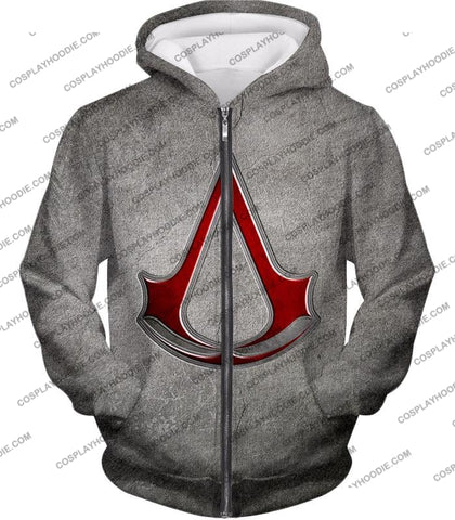 Image of Cool Assassins Creed Symbol Awesome Promo Grey T-Shirt Ac035 Zip Up Hoodie / Us Xxs (Asian Xs)