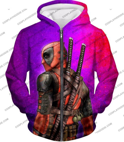 Image of Marvels X-Force Mutant Deadpool Psychedelic Print T-Shirt Dp035 Zip Up Hoodie / Us Xxs (Asian Xs)