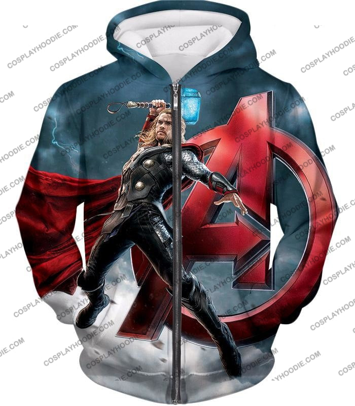 Action Hero Thor Avengers Promo Cool Graphic T-Shirt Thor035 Zip Up Hoodie / Us Xxs (Asian Xs)