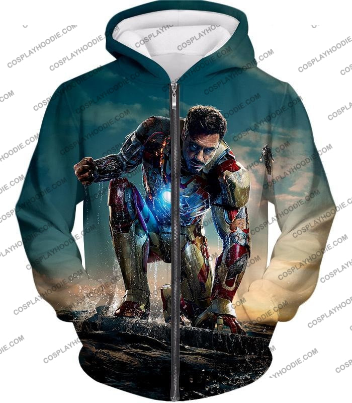 Best Avenger Iron Man Tony Stark Action Print T-Shirt Im035 Zip Up Hoodie / Us Xxs (Asian Xs)