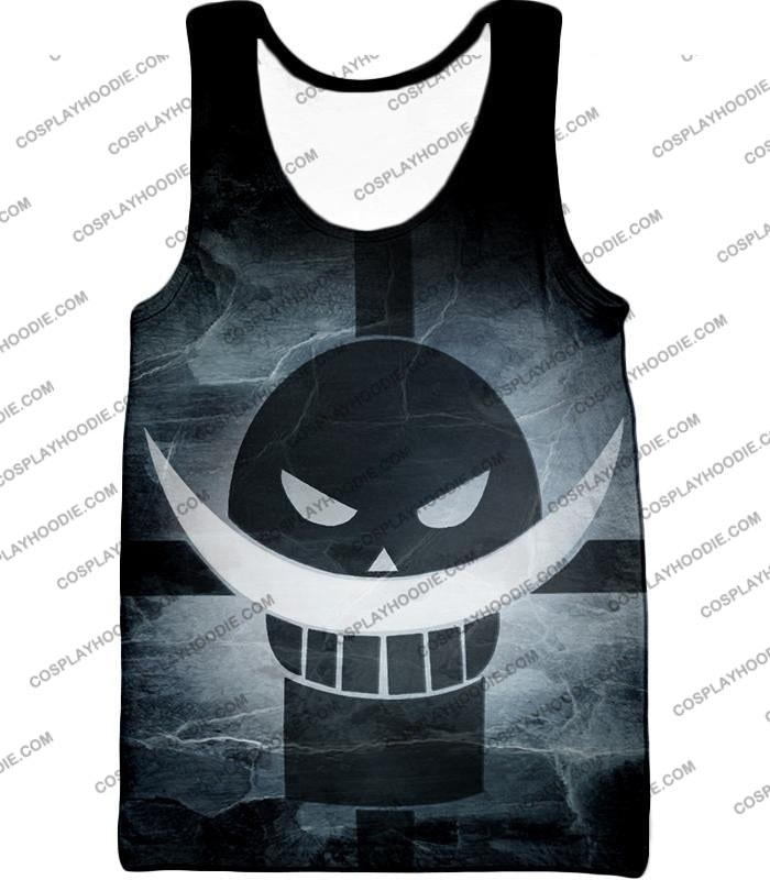 One Piece Awesome Blackbeard Pirates Flag Logo Cool Black And White T-Shirt Op035 Tank Top / Us Xxs