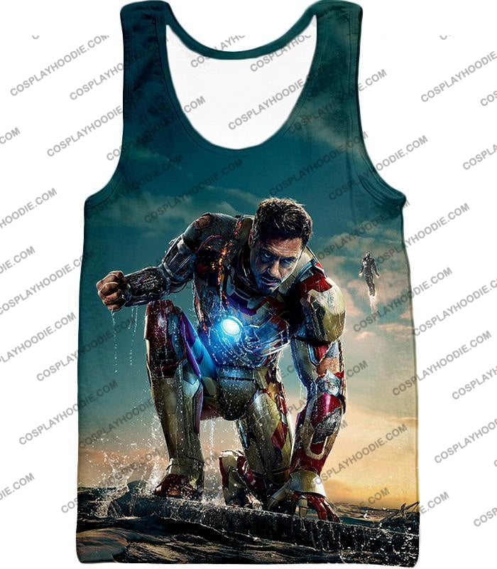 Best Avenger Iron Man Tony Stark Action Print T-Shirt Im035 Tank Top / Us Xxs (Asian Xs)