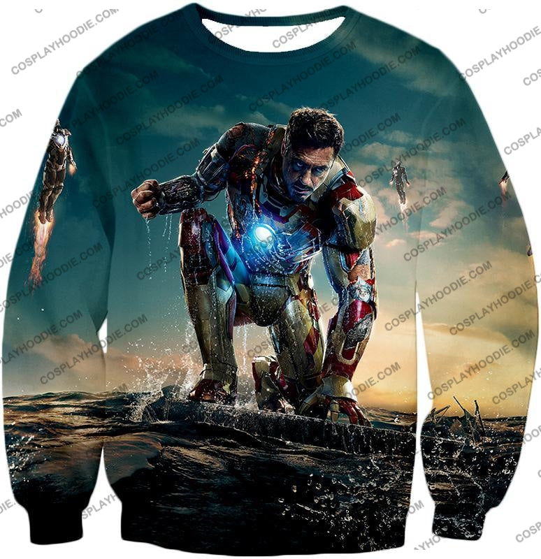 Best Avenger Iron Man Tony Stark Action Print T-Shirt Im035 Sweatshirt / Us Xxs (Asian Xs)
