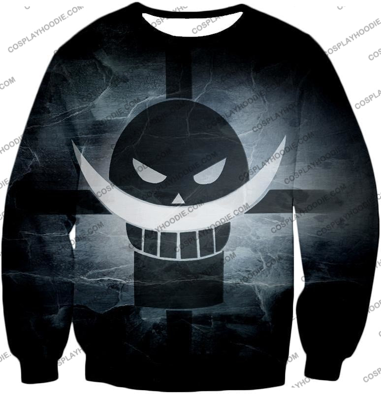 One Piece Awesome Blackbeard Pirates Flag Logo Cool Black And White T-Shirt Op035 Sweatshirt / Us