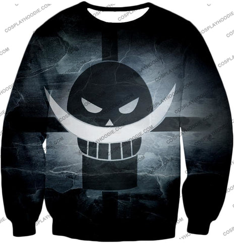 Image of One Piece Awesome Blackbeard Pirates Flag Logo Cool Black And White T-Shirt Op035 Sweatshirt / Us