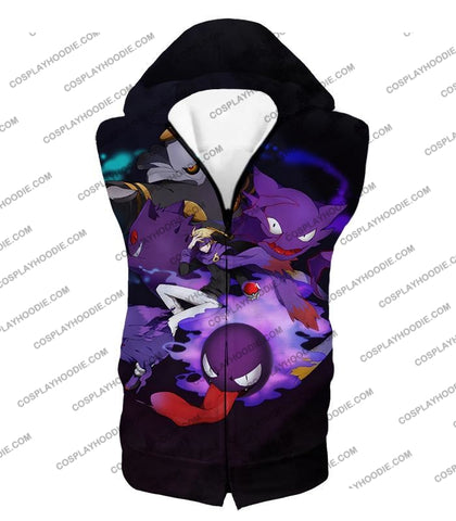 Image of Pokemon Awesome Ghost Type Pokemons Amazing Anime T-Shirt Pkm035 Hooded Tank Top / Us Xxs (Asian Xs)