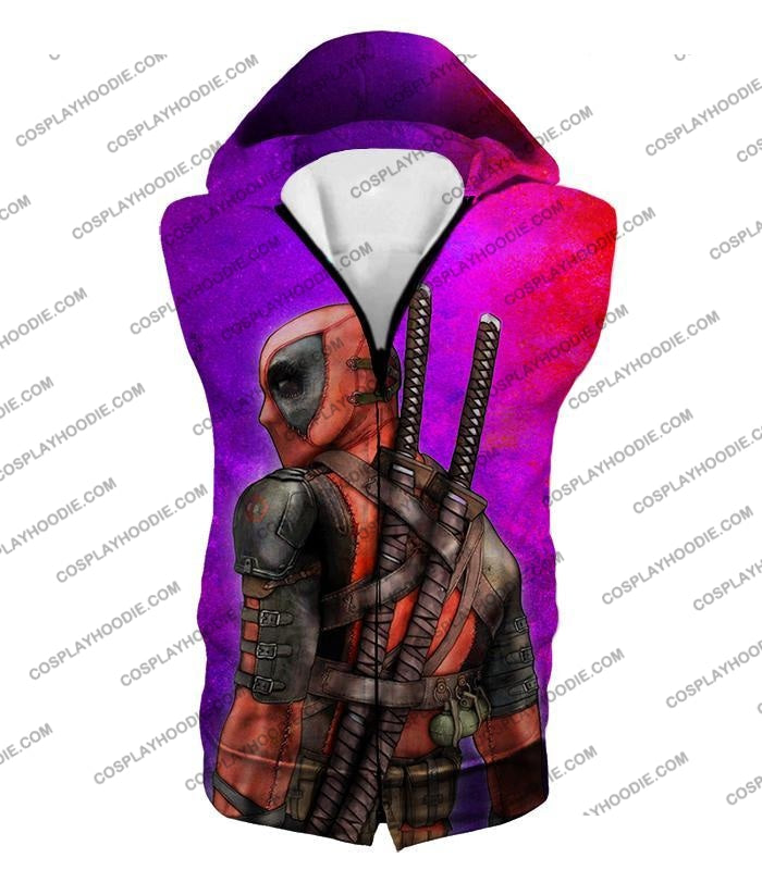 Marvels X-Force Mutant Deadpool Psychedelic Print T-Shirt Dp035 Hooded Tank Top / Us Xxs (Asian Xs)
