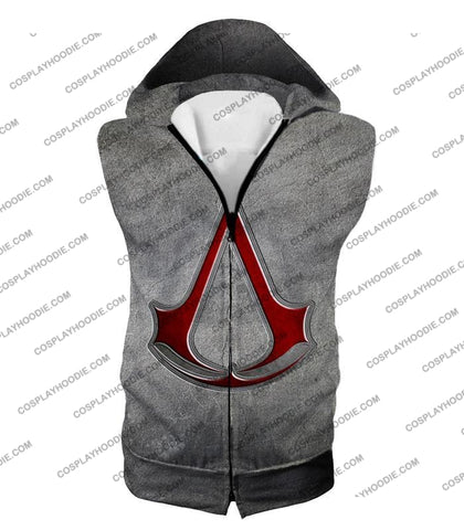 Image of Cool Assassins Creed Symbol Awesome Promo Grey T-Shirt Ac035 Hooded Tank Top / Us Xxs (Asian Xs)