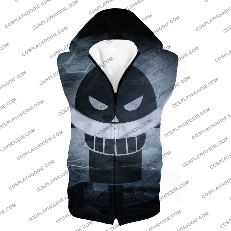One Piece Awesome Blackbeard Pirates Flag Logo Cool Black And White T-Shirt Op035 Hooded Tank Top /