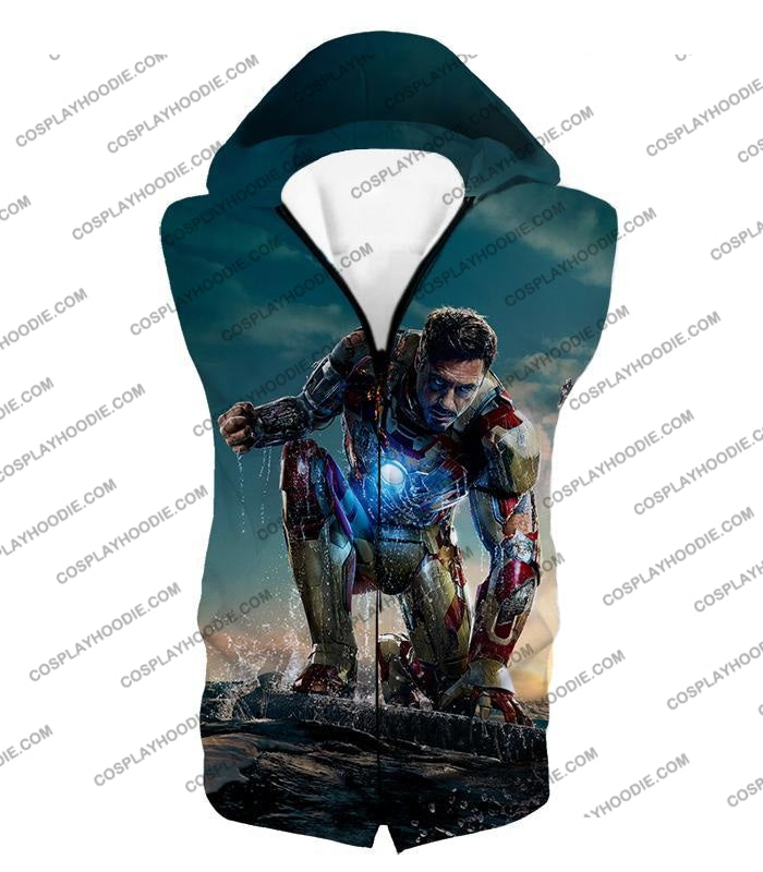 Best Avenger Iron Man Tony Stark Action Print T-Shirt Im035 Hooded Tank Top / Us Xxs (Asian Xs)