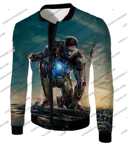 Image of Best Avenger Iron Man Tony Stark Action Print T-Shirt Im035 Jacket / Us Xxs (Asian Xs)