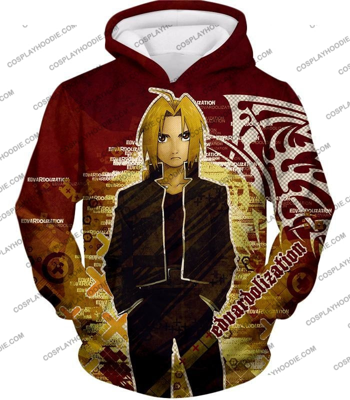 Fullmetal Alchemist Awesome Anime Hero Edward Elrich Cool Promo Poster Red T-Shirt Fa036 Hoodie / Us
