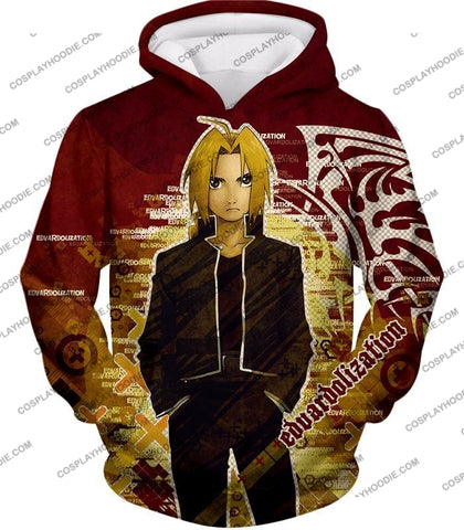 Image of Fullmetal Alchemist Awesome Anime Hero Edward Elrich Cool Promo Poster Red T-Shirt Fa036 Hoodie / Us