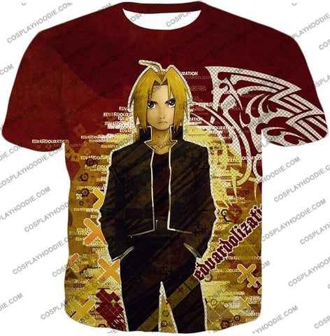 Image of Fullmetal Alchemist Awesome Anime Hero Edward Elrich Cool Promo Poster Red T-Shirt Fa036 / Us Xxs