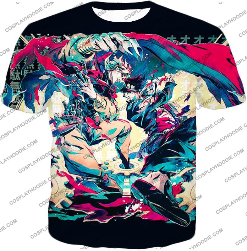 Jojos Bizarre Adventure C Intense Battle Jojo X Dio Action T-Shirt Jo036 / Us Xxs (Asian Xs)