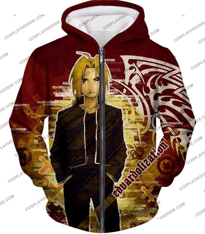 Fullmetal Alchemist Awesome Anime Hero Edward Elrich Cool Promo Poster Red T-Shirt Fa036 Zip Up
