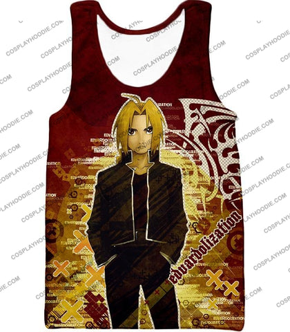 Image of Fullmetal Alchemist Awesome Anime Hero Edward Elrich Cool Promo Poster Red T-Shirt Fa036 Tank Top /