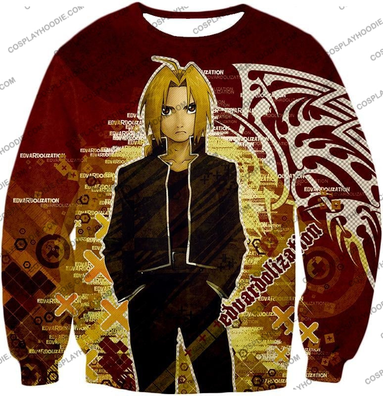 Fullmetal Alchemist Awesome Anime Hero Edward Elrich Cool Promo Poster Red T-Shirt Fa036 Sweatshirt