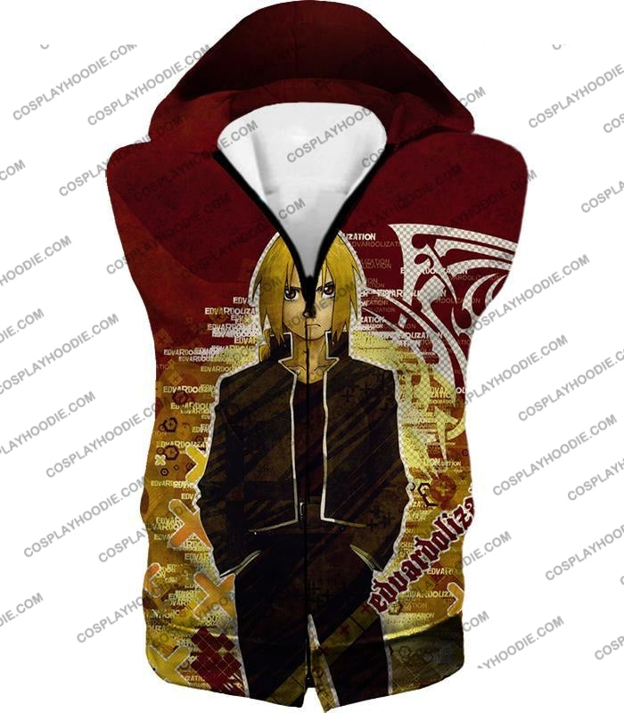 Fullmetal Alchemist Awesome Anime Hero Edward Elrich Cool Promo Poster Red T-Shirt Fa036 Hooded Tank