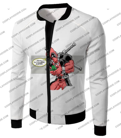 Image of Funny X-Force Mutant Deadpool Comic Promo White T-Shirt Dp036 Jacket / Us Xxs (Asian Xs)