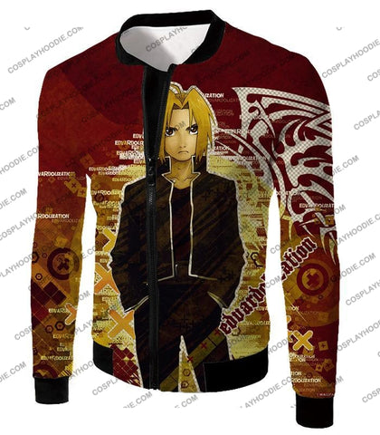 Image of Fullmetal Alchemist Awesome Anime Hero Edward Elrich Cool Promo Poster Red T-Shirt Fa036 Jacket / Us
