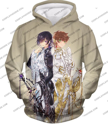 Image of The White Knight Suzaku X Demon Emperor Lelouch Cool Grey Anime T-Shirt Cg037 Hoodie / Us Xxs (Asian