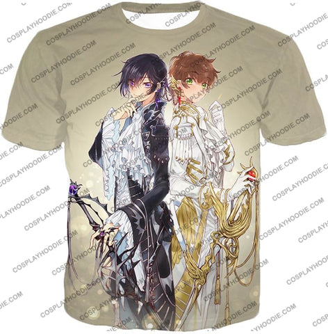 Image of The White Knight Suzaku X Demon Emperor Lelouch Cool Grey Anime T-Shirt Cg037 / Us Xxs (Asian Xs)