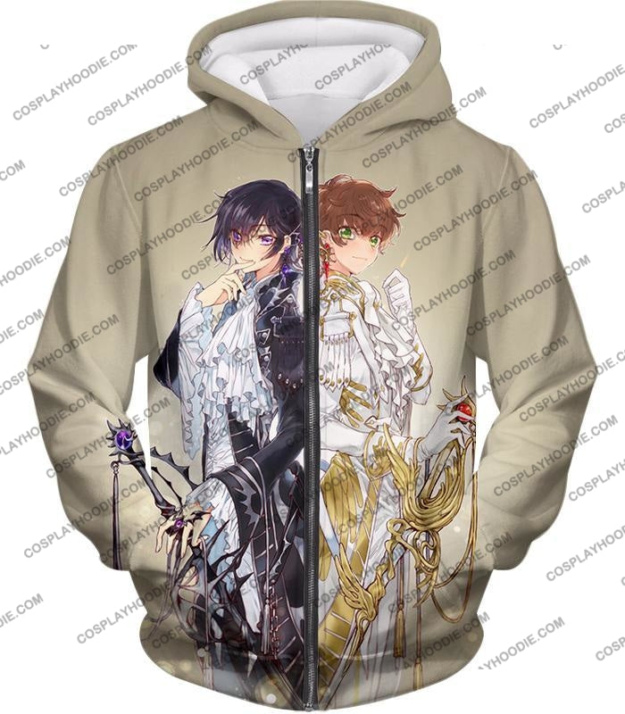 The White Knight Suzaku X Demon Emperor Lelouch Cool Grey Anime T-Shirt Cg037 Zip Up Hoodie / Us Xxs