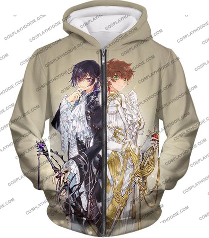 Image of The White Knight Suzaku X Demon Emperor Lelouch Cool Grey Anime T-Shirt Cg037 Zip Up Hoodie / Us Xxs