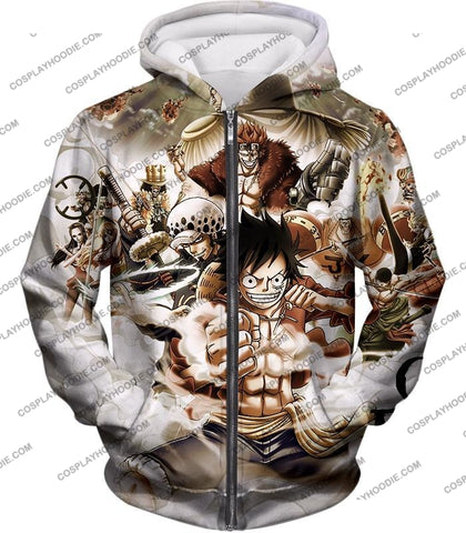 Image of One Piece Worst Generation Highest Bounty Pirates All In Cool T-Shirt Op037 Zip Up Hoodie / Us Xxs