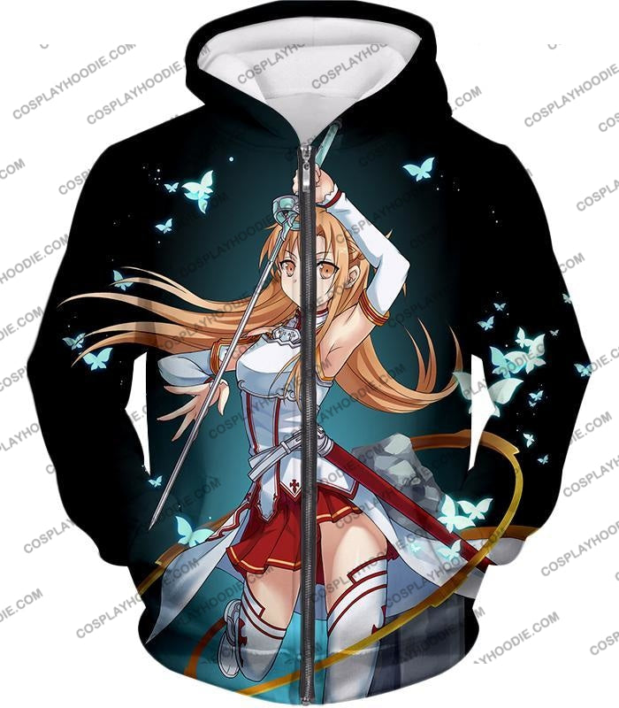 Sword Art Online Cute Anime Swordswoman Yuuki Asuna Sao Graphic Promo T-Shirt Sao037 Zip Up Hoodie /