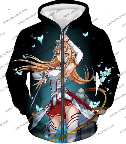 Image of Sword Art Online Cute Anime Swordswoman Yuuki Asuna Sao Graphic Promo T-Shirt Sao037 Zip Up Hoodie /