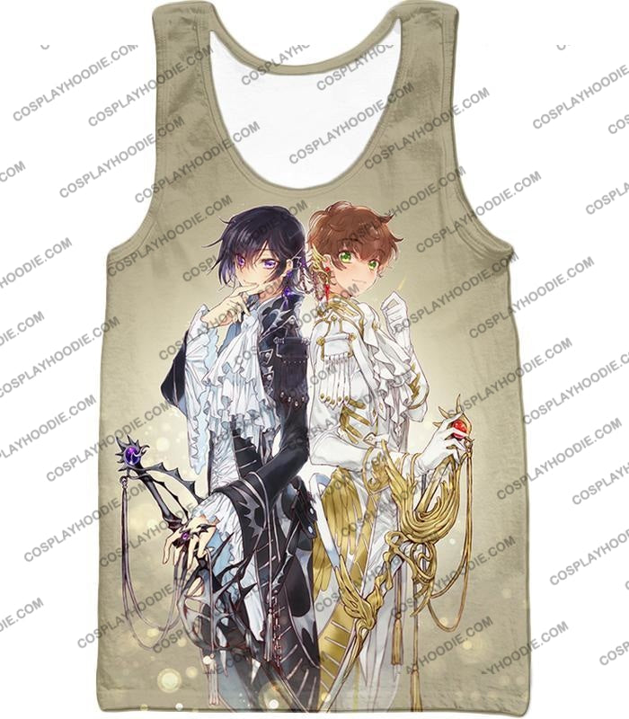 The White Knight Suzaku X Demon Emperor Lelouch Cool Grey Anime T-Shirt Cg037 Tank Top / Us Xxs