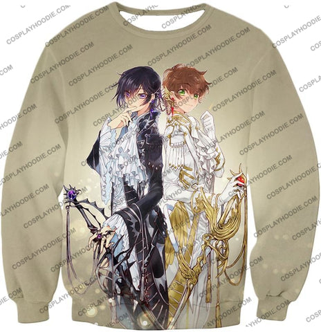 Image of The White Knight Suzaku X Demon Emperor Lelouch Cool Grey Anime T-Shirt Cg037 Sweatshirt / Us Xxs