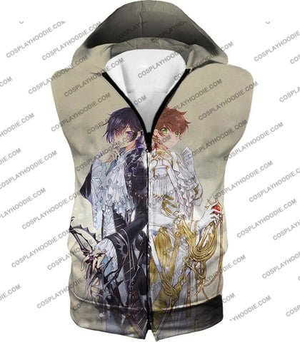 Image of The White Knight Suzaku X Demon Emperor Lelouch Cool Grey Anime T-Shirt Cg037 Hooded Tank Top / Us