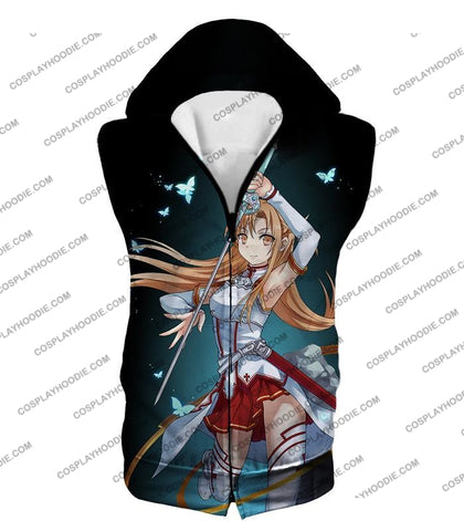 Image of Sword Art Online Cute Anime Swordswoman Yuuki Asuna Sao Graphic Promo T-Shirt Sao037 Hooded Tank Top