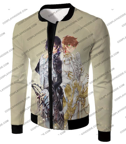 Image of The White Knight Suzaku X Demon Emperor Lelouch Cool Grey Anime T-Shirt Cg037 Jacket / Us Xxs (Asian