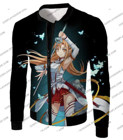 Image of Sword Art Online Cute Anime Swordswoman Yuuki Asuna Sao Graphic Promo T-Shirt Sao037 Jacket / Us Xxs