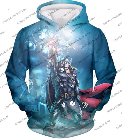 Image of Thor Odinson The God Of Thunder Cool Action T-Shirt Thor038 Hoodie / Us Xxs (Asian Xs)