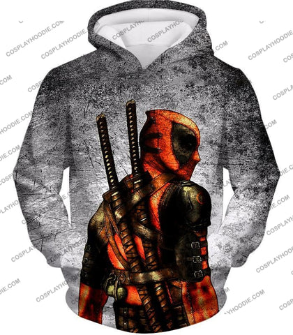 Image of Amazing Deadpool Serious Mercenary Pose Black Textured T-Shirt Dp038 Hoodie / Us Xxs (Asian Xs)