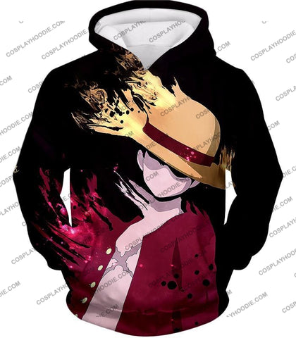 Image of One Piece Super Cool Pirate Captain Straw Hat Luffy Black T-Shirt Op038 Hoodie / Us Xxs (Asian Xs)
