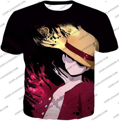 Image of One Piece Super Cool Pirate Captain Straw Hat Luffy Black T-Shirt Op038 / Us Xxs (Asian Xs)