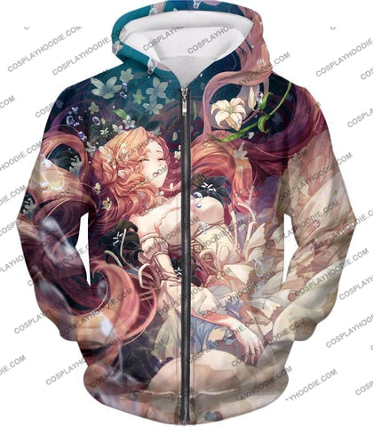 Image of Cute Blonde Haired Anime Beauty Nunnaly Vi Britannia T-Shirt Cg038 Zip Up Hoodie / Us Xxs (Asian Xs)