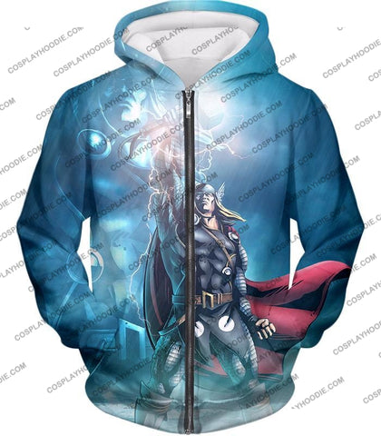Image of Thor Odinson The God Of Thunder Cool Action T-Shirt Thor038 Zip Up Hoodie / Us Xxs (Asian Xs)